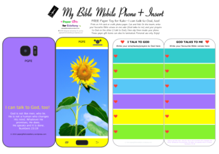Mobile Phone paper toy craft with sunflower photo on mauve and yellow background; I talk to God; God talks to me; write out your favourite Bible verses and prayers to God; free printable