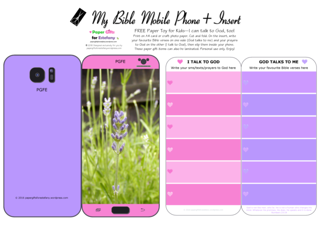 Mobile Phone paper toy craft with lavender photo on mauve and pink background; I talk to God; God talks to me; write out your favourite Bible verses and prayers to God; free printable
