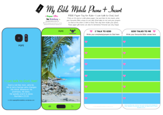 Mobile Phone paper toy craft with Beach photo on blue and green background; I talk to God; God talks to me; write out your favourite Bible verses and prayers to God; free printable