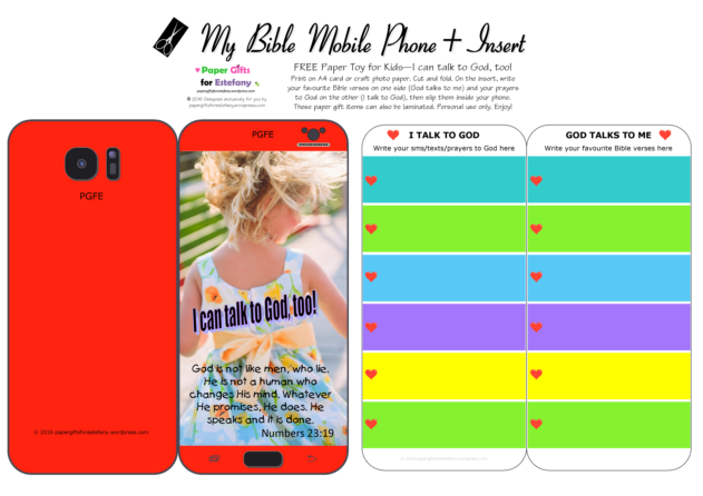 Mobile Phone paper toy craft with photo of young girl on red background; I talk to God; God talks to me; write out your favourite Bible verses and prayers to God; free printable
