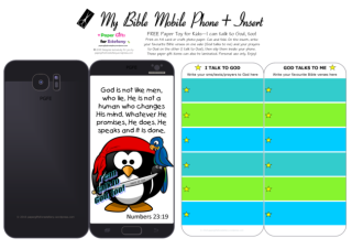 Mobile Phone paper toy craft with penguin pirate on black background; I talk to God; God talks to me; write out your favourite Bible verses and prayers to God; free printable