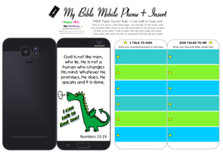 Mobile Phone paper toy craft with dinosaur dragon on black background; I talk to God; God talks to me; write out your favourite Bible verses and prayers to God; free printable