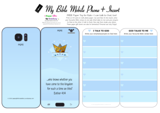Mobile Phone paper toy craft with Queen Esther on pale blue background; I talk to God; God talks to me; write out your favourite Bible verses and prayers to God; free printable