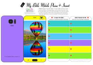 Mobile Phone paper toy craft with hot air balloon photo on mauve and yellow background; I talk to God; God talks to me; write out your favourite Bible verses and prayers to God; free printable