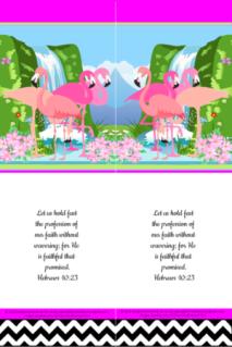 FREE Flamingo Bible bookmark; Hebrews 10:23 on bright pink, white and black background; free printable