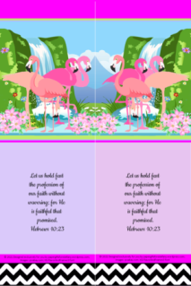 FREE Flamingo Bible bookmark; Hebrews 10:23 on bright pink, dusty pink and mauve, white and black background; free printable