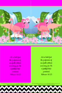 FREE Flamingo Bible bookmark; Hebrews 10:23 on bright pink and lime, white and black background; free printable