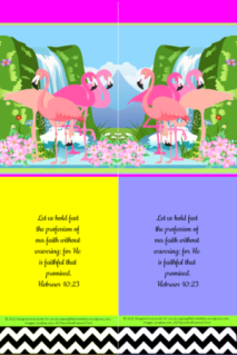 FREE Flamingo Bible bookmark; Hebrews 10:23 on yellow, blue, bright pink, white and black background; free printable
