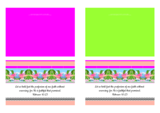 FREE Flamingo Bible note cards; Hebrews 10:23 on bright pink, lime, apricot and white background; free printable