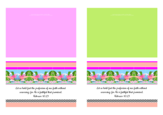FREE Flamingo Bible note cards; Hebrews 10:23 on pale pink, pale green, apricot and white background; free printable