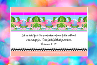 FREE Flamingo Bible poster; Hebrews 10:23 on mottled blue, aqua, pink, apricot and white background; free printable