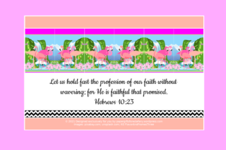 FREE Flamingo Bible poster; Hebrews 10:23 on pale pink, apricot and white background; free printable