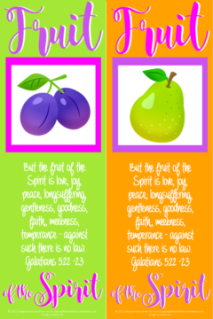 FREE Fruit of the Spirit Bible bookmarks; Galatians 5:22-23; purple plums on lime green background with bright pink border; pear on orange background with purple border; purple, bright pink and white text; free printable