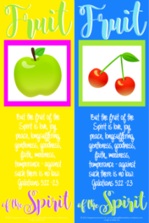 FREE Fruit of the Spirit Bible bookmarks; Galatians 5:22-23; green apple on yellow background with bright pink border; red cherries on blue background with lime green border; lime green, pale blue, purple and white text; free printable
