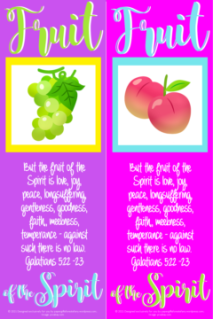 FREE Fruit of the Spirit Bible bookmarks; Galatians 5:22-23; a bunch of green grapes on purple background with yellow border; peaches on bright pink background with pale blue border; lime green, pale blue and white text; free printable