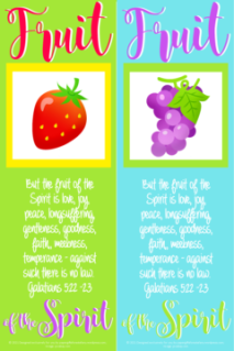 FREE Fruit of the Spirit Bible bookmarks; Galatians 5:22-23; strawberry on lime green background with yellow border; a bunch of grapes on pale blue background with lime green border; red, purple, lime green and white text; free printable