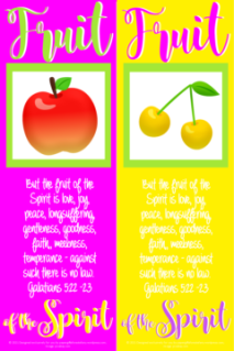 FREE Fruit of the Spirit Bible bookmarks; Galatians 5:22-23; apple on bright pink background with lime green border; yellow cherries on yellow background with lime green border; pink, purple and white text; free printable