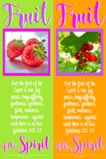 FREE Fruit of the Spirit Bible bookmarks; Galatians 5:22-23; strawberries on lime green background with bright pink border; round red berries on orange background with purple border; pink, purple and white text; free printable
