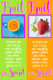 FREE Fruit of the Spirit Bible bookmarks; Galatians 5:22-23; strawberry on orange background with purple border; orange slice on lime green and blue background with bright pink border; pink, purple and white text; free printable