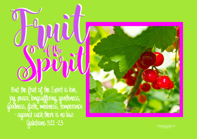 FREE Fruit of the Spirit Bible poster; Galatians 5:22-23; round red berries on lime green background with bright pink border; pink, purple and white text; free printable