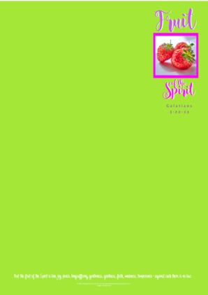 FREE Fruit of the Spirit stationery with Bible verse; Galatians 5:22-23; strawberries with bright pink border on lime green background; free printable