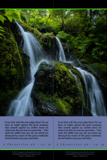 FREE Waterfall bookmark with Bible verse from 2 Chronicles 20.12; free printable