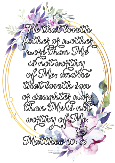 FREE Scripture doodle Matthew 10:37 with pretty floral wreath; free printable