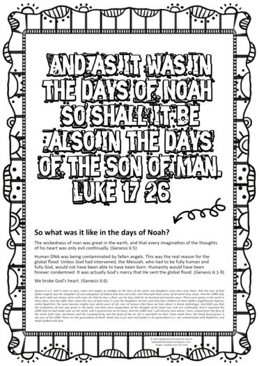 FREE Scripture doodle Luke 17:26 Days of Noah; free printable