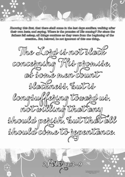FREE Scripture doodle 2 Peter 3:3-9; free printable